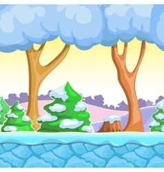 Seamless cartoon winter landscape with vector