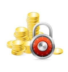 Security Concept padlock and money vector image