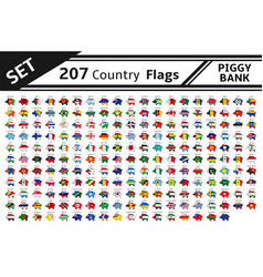 set 207 country flags piggy bank vector image