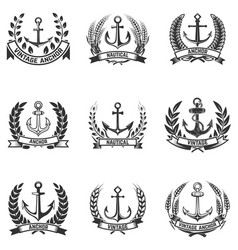 Set emblems with anchors and wreaths vector