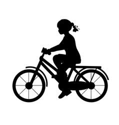 silhouette girl riding bike sport vector image