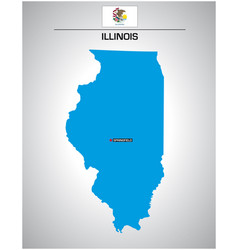simple outline illinois map with flag vector image