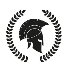 Spartan helmet with laurel vector