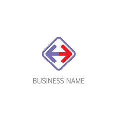 Square arrow left right sign business logo vector
