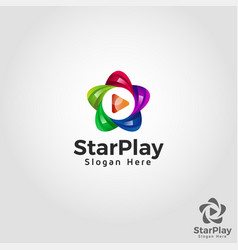 star play - stylish multimedia logo template vector image