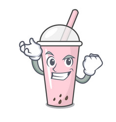 Successful raspberry bubble tea character cartoon vector