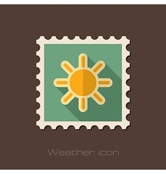 Sun flat stamp Meteorology Weather vector image