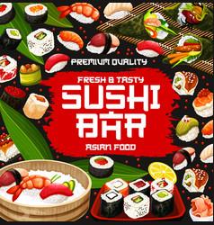 Sushi rolls temaki and nigiri with rice and fish vector