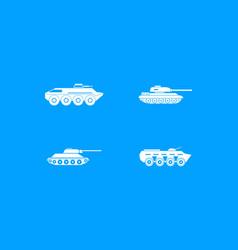 Tank icon blue set vector