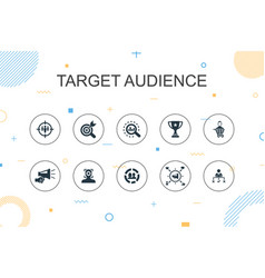 Target audience trendy infographic template thin vector