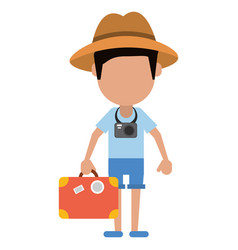 tourist man photographic camera and suitcase vector image