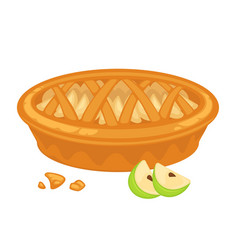 Traditional american apple pie with open top vector