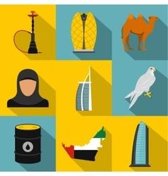 UAE icons set flat style vector