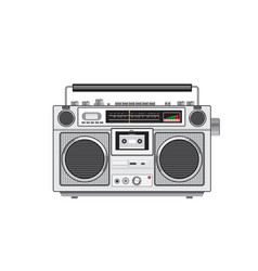 Vintage portable radio cassette player retro vector