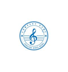 vintage retro note music tone studio logo design vector image