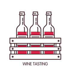 Wine tasting promotional poster with bottles in vector