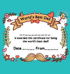 Worlds best dad award certificate template vector