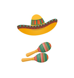 an of sombrero and maracas mexican traditional vector image