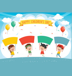 of kids holding placard vector image