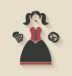Oktoberfest girl with beer mug and pretzel vector image vector image