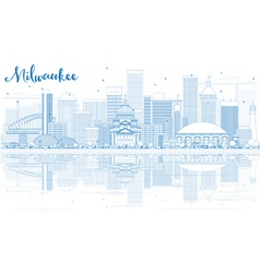 Outline Milwaukee Skyline with Blue Buildings vector image vector image