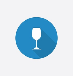 wineglass Flat Blue Simple Icon with long shadow vector image vector image