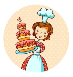 Woman in kitchen Beautiful baker vector image