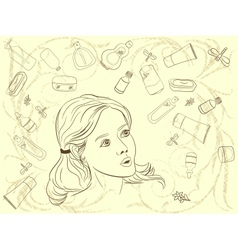 a beautiful girl choosing from a bunch of vector image vector image