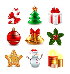 Christmas objects set vector image vector image