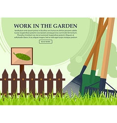 Garden tools and a fence on a light background vector image