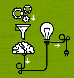 Invention mechanism with light bulb brain and vector image vector image