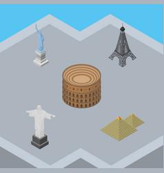 isometric architecture set of rio egypt coliseum vector image vector image