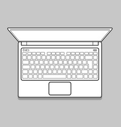 open modern laptop top view vector image vector image