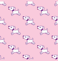 seamless pattern with cute dog stickers isolated vector image vector image
