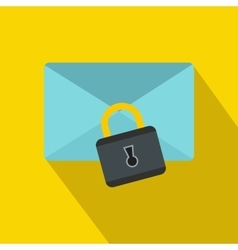 Blue envelope with padlock icon flat style vector image vector image