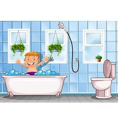 Boy taking a bath in bathroom vector image vector image