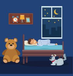 colorful scene boy sleep in bedroom with pet dog vector image