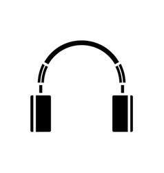 Cute headphones icon black vector