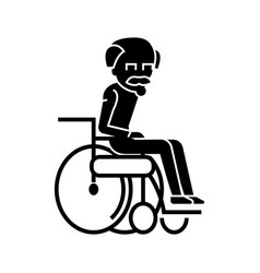 elder man in wheelchair icon vector image vector image