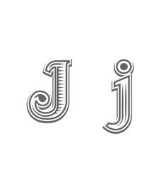 Font tattoo engraving letter J vector image vector image