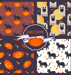 halloween concept seamless patterns set vector image