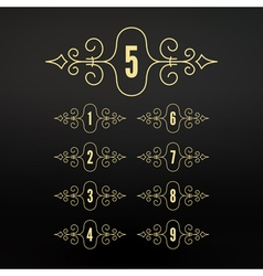 Numbers set Calligraphic Frame in Linear Style vector image vector image