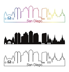 San Diego skyline linear style with rainbow vector image