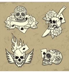 Set of Old School Tattoo Elements vector image vector image