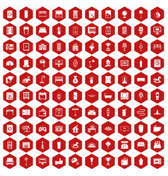 100 interior icons hexagon red vector image vector image