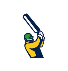 Cricket Player Batting Retro vector image vector image
