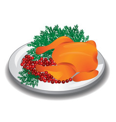 delicious roasted turkey or chicken on a plate vector image vector image