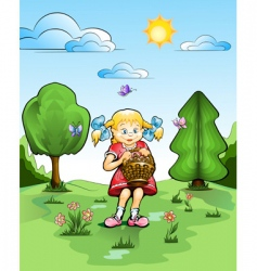 girl with basket of mushrooms vector image