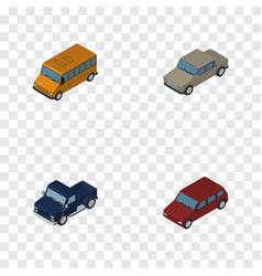 Isometric transport set of autobus auto suv and vector