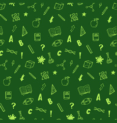 school supplies icons seamless pattern vector image